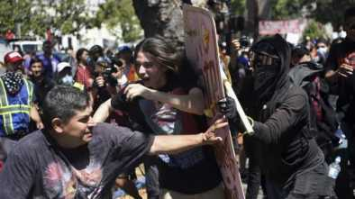 Anarchists Carrying 'No Hate' Shields Assault People At Berkeley Protest
