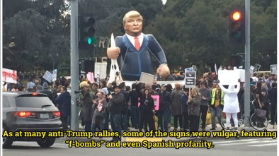 Anti-Trump Rally in Beverly Hills: Costumes, F-Bombs, and a Mexican Flag
