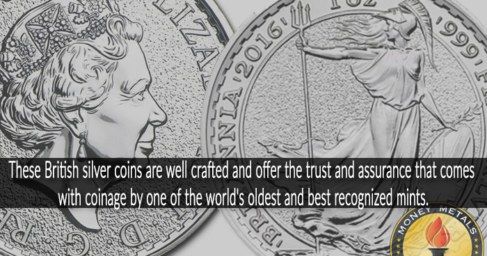 1 Oz British Silver Britannia Coins from Money Metals Exchange