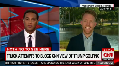CNN Loses It After Trump Blocks View of Golf Course with Box Truck