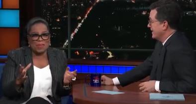 Colbert Invokes Cartoon 'God' to Persuade Oprah to Run for President