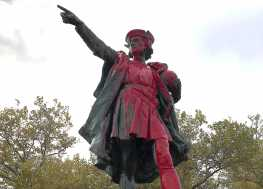Columbus Statues Vandalized on Holiday Named for Him