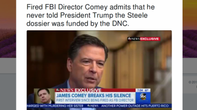 Comey Admits He Didn't Tell Trump Hillary Paid For Russian Dossier