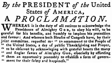 Compare George Washington's Thanksgiving Proclamation to Trump's & Obama's