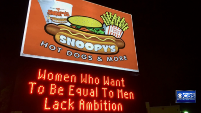 Confusing feminist sign upsets women