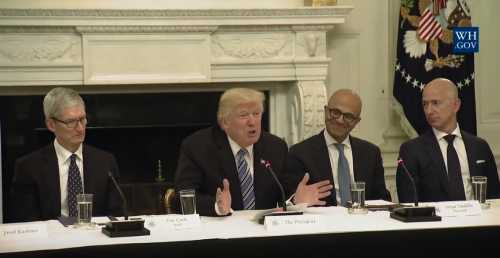 Apple's Tim Cook, President Donald Trump, Microsoft's Satya Nadella and Amazon's Jeff Bezos