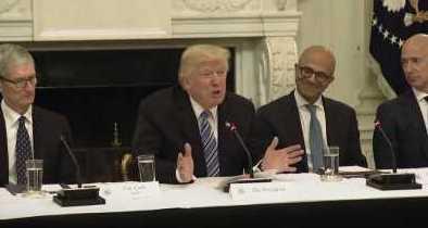 Apple's Tim Cook, President Donald Trump, Microsoft's Satya Nadella and Amazon's Jeff Bezos