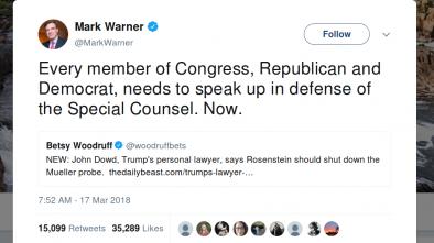 Dem Senator Calls on Congress to Protect Mueller after McCabe's Firing