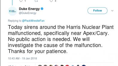False Alarm at NC Nuclear Power Plant