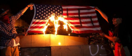 Hondurans Paint Swastika on American Flag and Burn It