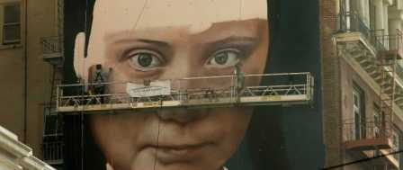 Mural of Teen Activist Greta Thunberg Going Up in SF's Union Square