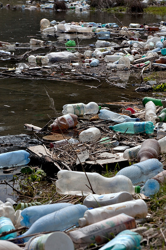 plastic pollution river photo