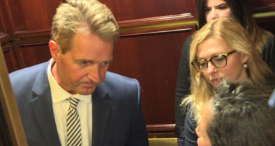 Paid Soros Activists Trapped Flake in an Elevator Before Kavanaugh Flip-Flop