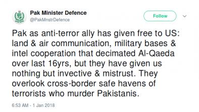 Pakistan Fires Back at Trump's Tweet