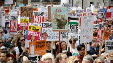 Tens of Thousands Anti-Trump Protesters March through London