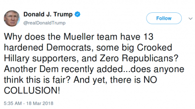 Trump Aims Directly at Mueller in Focused Criticism of Probe