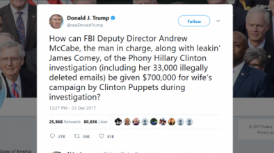 Trump slams FBI Deputy Director Andrew McCabe