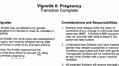 US Army's Transgender Training Addresses MALE Pregnancies