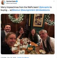 WaPo Reporter Deletes Tweet of Staff w/'Merry Impeachmas' Caption