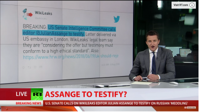 Wikileaks: Senate Panel Requested Assange Testimony for Mueller Probe