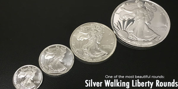 Buy privately minted 1 oz Walking Liberty round from the well-known bullion dealer Money Metals Exchange.