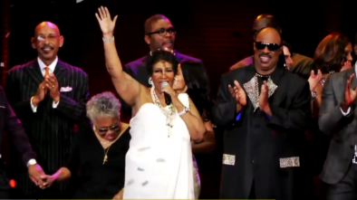 Aretha Franklin and Stevie Wonder